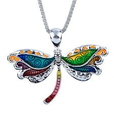 "Large Beautiful Dragonfly Pendant Necklace with 19"" Mesh Chain Fast Shipping"
