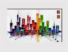 394 X LARGE CANVAS 18''x 32'' WALL ART MODERN ABSTRACT CITY GICLLE PRINT PICTURE