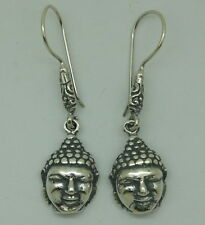 Antique Lord Buddha Earrings in 925 Sterling Silver - Oxidised New