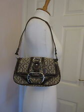 GUESS BROWN BROCADE AND MOC CROC PATENT LEATHER SMALL SHOULDER BAG VGC