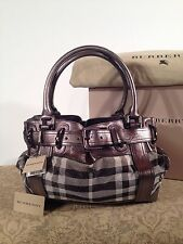 Burberry 100% Authentic Shimmer Metallic and Pewter Check Handbag