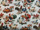 1 Yd American Homestead Quilt Fabric White Rooster Chicken Sunflowers Flowers