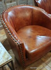 """Set of TWO 32"""" W Buffalo leather vintage light brown Club Arm Chair masterfully"""