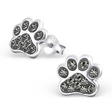 Paw Print Black Diamond Crystal .925 Sterling Silver Stud Post Earrings