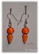 Boucles Oreilles Perles Magiques 8mm orange  montage  Ag925  Gaia Créations