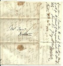 * 1834 AXMINSTER PENNY POST & SEATON No 2 W? PROBY LETTER TO DAW AT BICTON DEVON