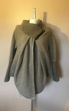 Ladies Italian Lagenlook Quirky 80% WOOL Zip Button Pocket Cocoon Jacket Coat