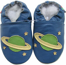 shoeszoo soft sole leather baby shoes planet blue 6-12m S