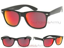 "MATTE BLACK RED FLASH MIRROR LENS ""Wayfarer Sunglasses"" men women classic 2140"