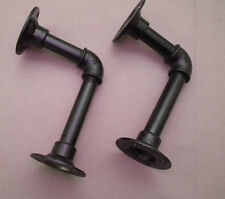 Two Industrial pipe shelf bracket- black, steampunk, urbanpipe