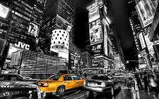 Framed Print - Black & White New York Time Square with Yellow Taxi (Picture Art)