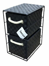 Black Tower Unit 2 Drawer Storage With Metal Frame Polypropelene Made 437BK