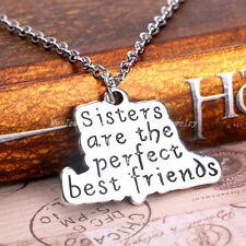 Xmas Gift Sisters Are The Perfect Best  Family Necklace Words Pendant Jewelry