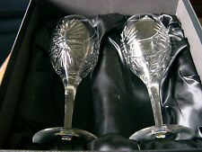 Superb Pair of Hand Cut Crystal Wine Glasses in Presentation Box.