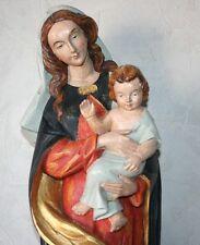Rare Statue Vierge à l'Enfant en Bois Polychrome avec le socle en bois 72 cm