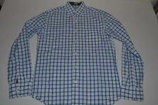 J CREW SLIM FIT BLUE WHITE PLAID POCKET DRESS SHIRT MENS SIZE MEDIUM M