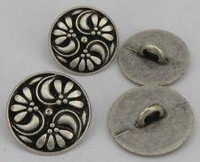 10 Botones de metal Traje típico Botones 17,5mm plata envejecida 07. 21a