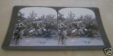 WW1 STEREOVIEW GUN BATTERY WITH GAS MASKS FIRING AT GERMAN POSITION