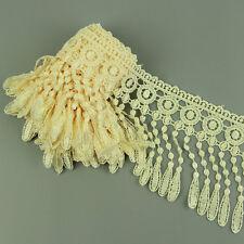 3 Yds Beige Cream Edging Fringe Lace Curtain Venise Fabric Trimmings Lamp Craft