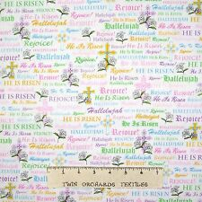 Joyful Easter Fabric Religious Faith Word Cross White - Quilting Treasures YARD