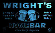 p1031-b Wright's Personalized Home Bar Beer Family Name Neon Light Sign