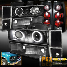 88-93 GMC Chevy C/K 1500 Silverado Black LED Halo Head Light + Smoke Tail Lamp