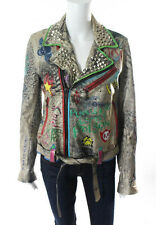 HOLLYWOOD TRADING COMPANY Nancy Gold Multicolor Painted Stud Leather Jacket Sz M