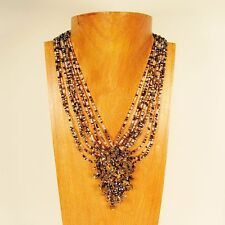 "18"" Black/Clear Multi Color Stone Chip Cluster Handmade Seed Bead Necklace"