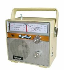 Steepletone Heartbeat 1960s Retro Style Portable Radio - Cream Vintage Leather