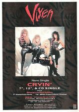 VIXEN Cryin'  UK magazine ADVERT / mini Poster 11x8 inches
