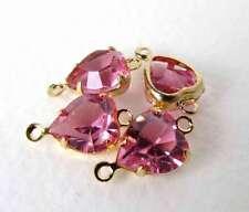 Vintage Swarovski Rose Pink Heart Rhinestone Crystal Bead Drop Connector