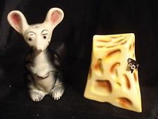 Vintage....Mouse, With His Big Piece Of Cheese...Salt & Pepper Shakers...Japan