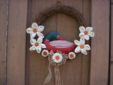 Spring Bird and Flower Fabric wreath/Mothers day Handmade door and wall wreath