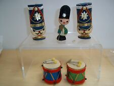 Vintage Lot Japan Christmas Toy Soldier and Drums Ornaments Felt - 1950's