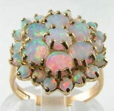 HUGE ENGLISH MADE 9CT FIERY OPAL 25 STONE CLUSTER RING, FREE REIZE