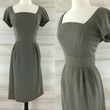 Vintage 50s olive green wool wiggle dress structured Nathan Strong M