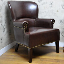 Brown Leather Studded Wing Back Arm Chair Armchair Vintage Style Club Chair