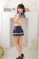 Sexy School Girl Costume Lingerie Student Women Cosplay Mini Dress Halloween