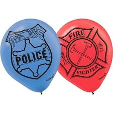 Firefigther & Police Party Balloons 6 Cnt 12 inch