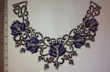 Blue Floral Design Guipure Lace Collar - Embroidered Applique Neck Trim Sewing