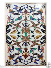 Size 4'x2' Travertine Coffee Table Multi Stone Mosaic Floral Marquetry Inlay Art