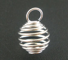 100Pcs Silver Plated Spiral Bead Cages Pendants 8x9mm