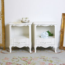 Shabby Cottage Chic Vintage Style Pair of  Bedroom Nightstands with 1 Drawer