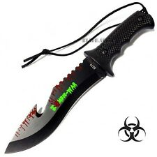 """9"""" ZOMBIE TACTICAL HUNTING SURVIVAL KNIFE GUT HOOK BLADE BOWIE CAMPING OUTDOOR"""