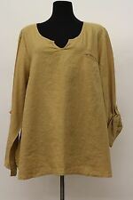 FLAX BOLD 2015 LINEN PLUS Sz SPECIAL TEE ROLL TAB SHIRT V PULLOVER BAMBOO 3G 3X