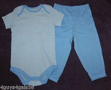 Toddler Boys Bodysuit Blue Striped w/ Solid Pants KNIT Snap Crotch 18 Months