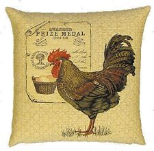 "NEW 18"" ROOSTER PRIZE MEDAL TAPESTRY CUSHION COVER 4892"