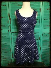 Monteau Blue And White Polka Dot Sleeveless Stretch Dress Medium