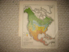 ANTIQUE 1893 NORTH AMERICA UNITED STATES CANADA MEXICO TEXAS FLORIDA GEOLOGY MAP