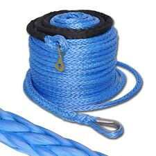 "17500lb 92'x2/5"" Winch Synthetic Rope Cable w Thimble Sleeve for Recovery Winch"